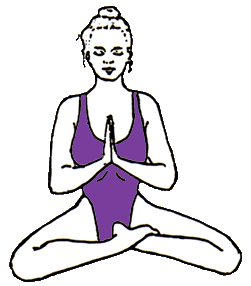 prayer mudra in easy pose